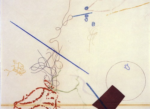 John Cage: Dereau (#11) (1982, Color etching with aquatint, and engraving, photo-etching and drypoint)