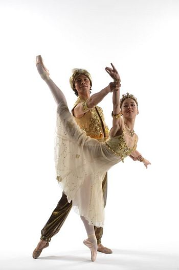 ALADDIN - Birmingham Royal Ballet's Nao Sakuma as Princess Badr Al Budur and Cesar Morales as Aladdin - photo by Richard Battye