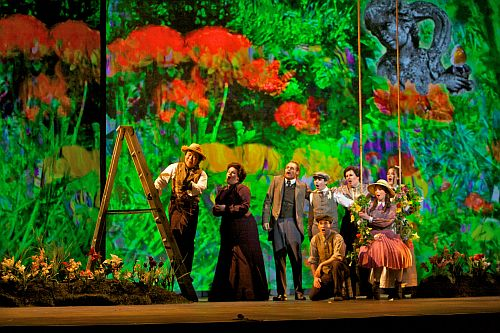 Ao Li (Ben Weatherstaff), Erin Johnson (Mrs. Medlock), Philippe Sly (Archibald Craven), Michael Kepler Meo (Colin), Scott Joiner (Dickon Sowerby), Marina Harris (Susan Sowerby), Laura Krumm (Martha Sowerby) and Sarah Shafer (Mary Lennox). Photo by Betsy Kershner/San Francisco Opera/Cal Performances.