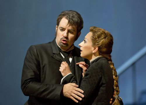 Matthew Polenzani (Hoffmann) and Natalie Dessay (Antonia).  © Cory Weaver/San Francisco Opera