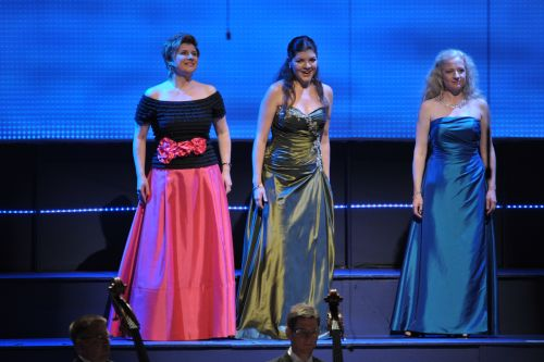 Aga Mikolaj, Anna Lapkovskaja and Maria Gortsevskaya as the Rhinemaidens in Wagner's Das Rheingold at the BBC Proms