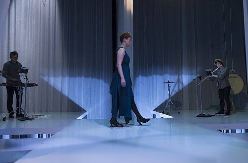 """Left-to-right: Ross Karre, Tony Arnold and Claire Chase in """"the whisper opera."""" (Photo: Nathan Keay, ©MCA Chicago)"""